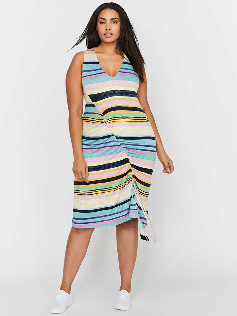 Rachel Roy Asymmetrical Cinched Striped Dress