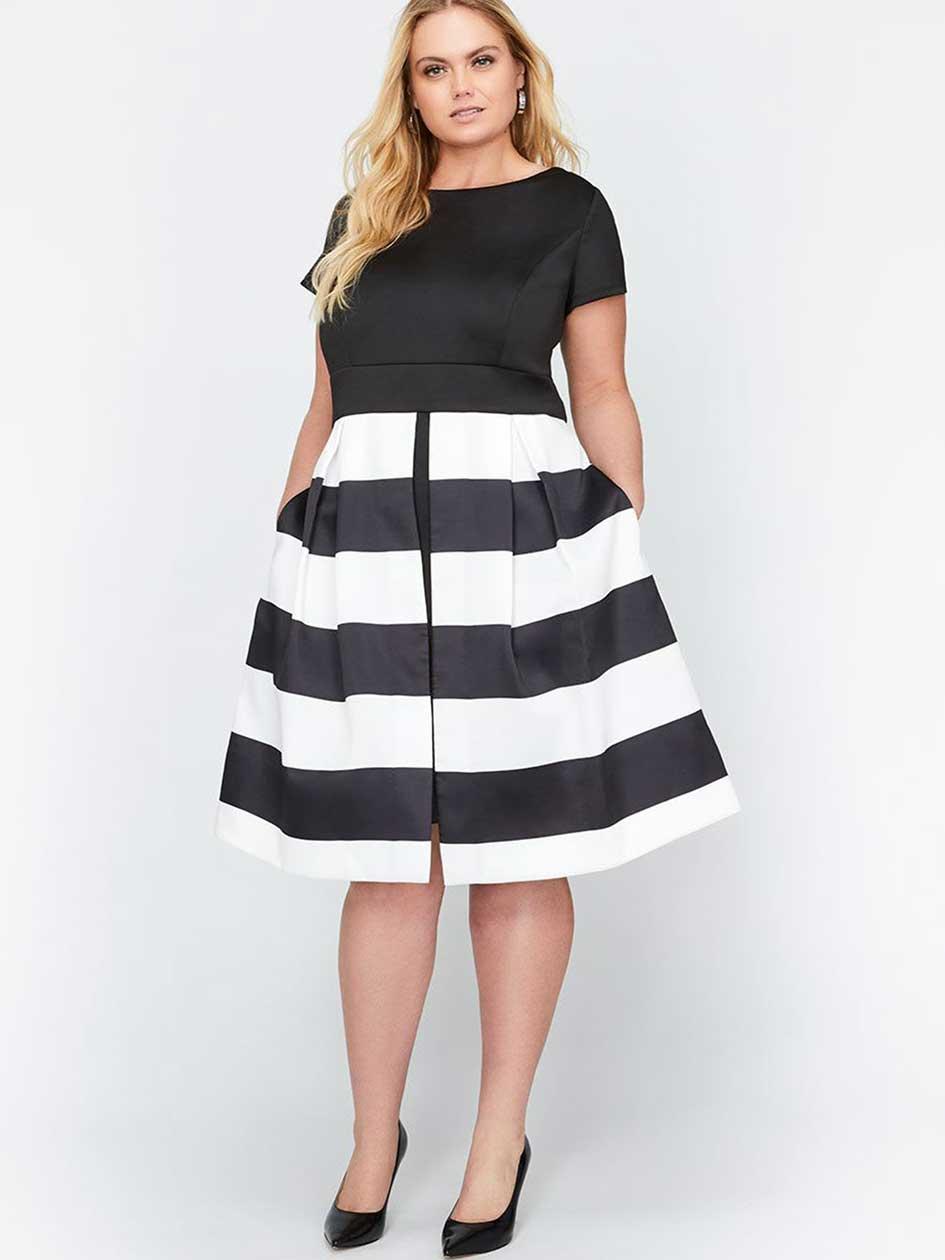 Michel Studio Fit & Flare Bold Stripe Short Party Dress