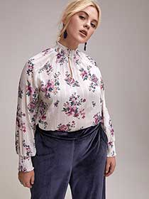 Long Raglan Sleeve Printed Popover Blouse with Smocked Details - L&L
