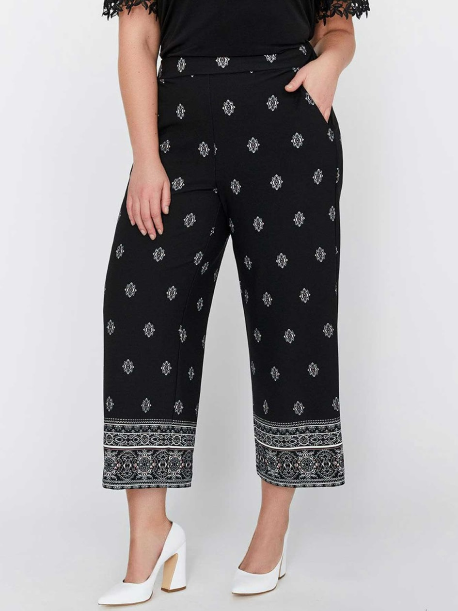Michel Studio Wide Leg Cropped Printed Pull-On Pant