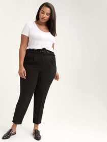 High Waist Peg Trouser with Belt - Michel Studio