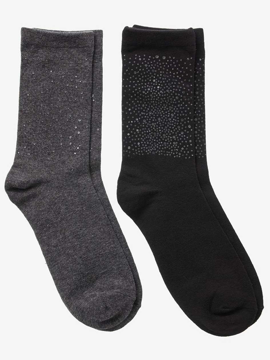 Glitter Print 2-Pack Combo Socks