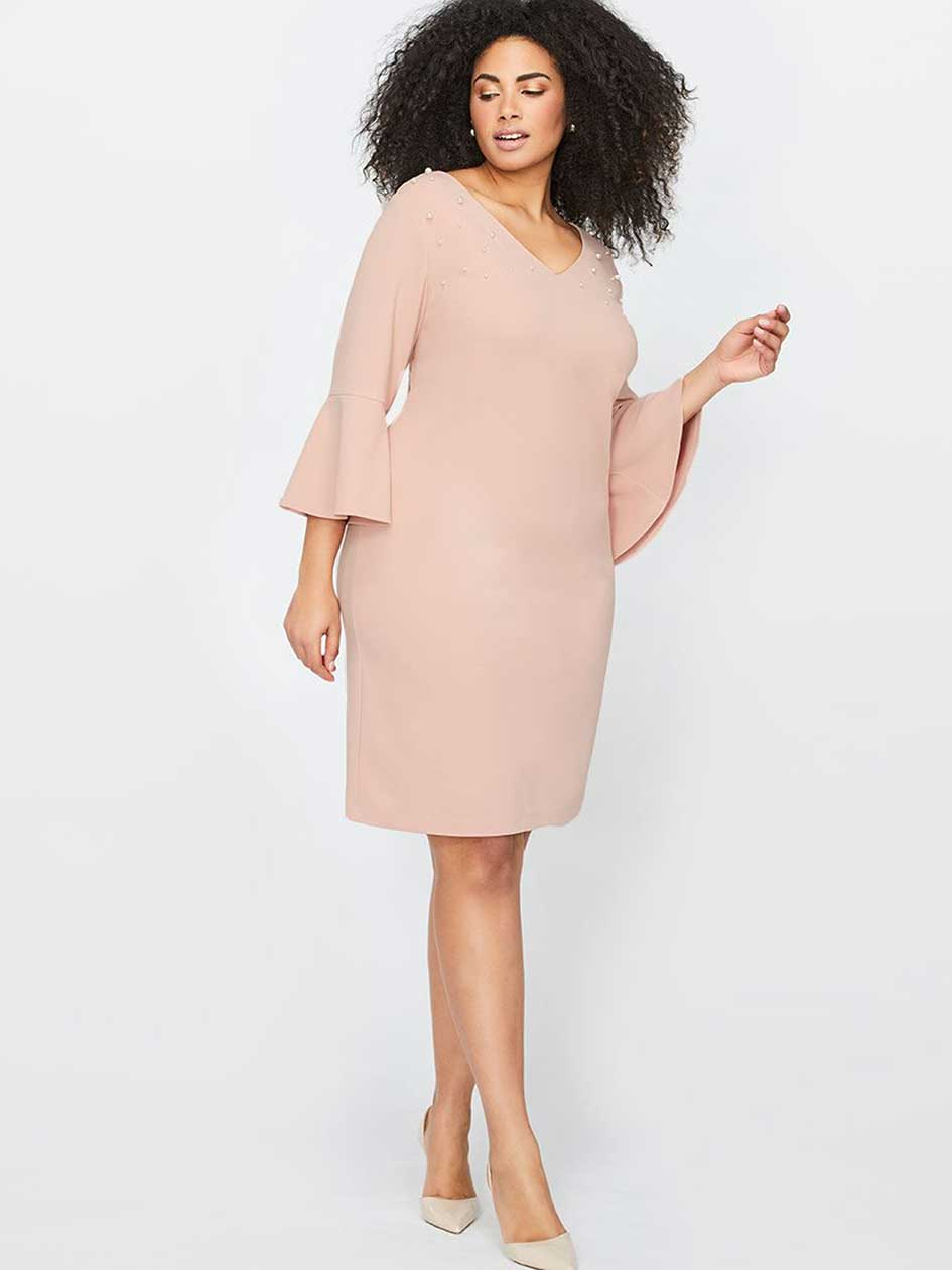 Flutter Sleeve Dress With Pearls