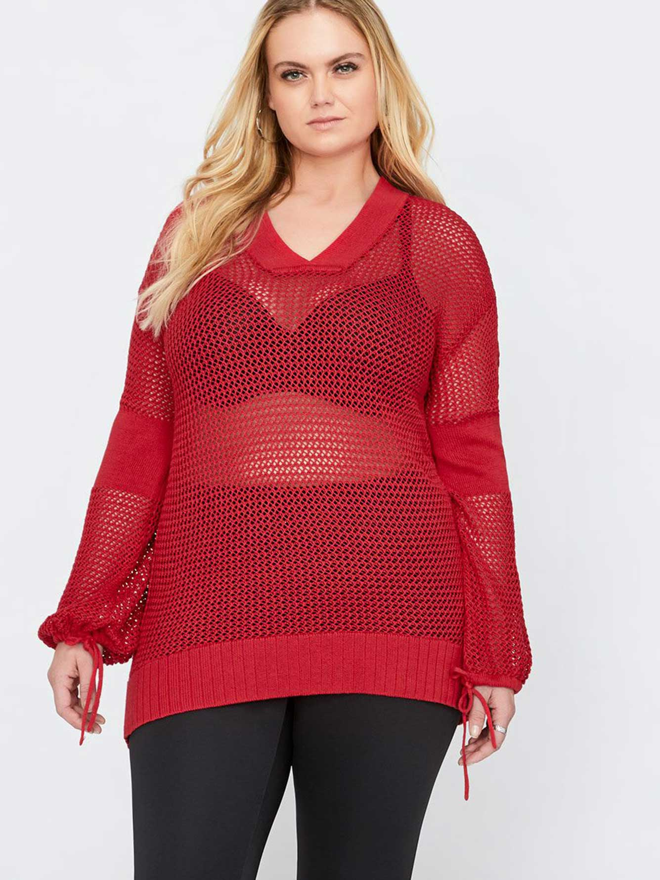 bb17b09d310 L&L Puffy Sleeve Mesh Sweater | Addition Elle