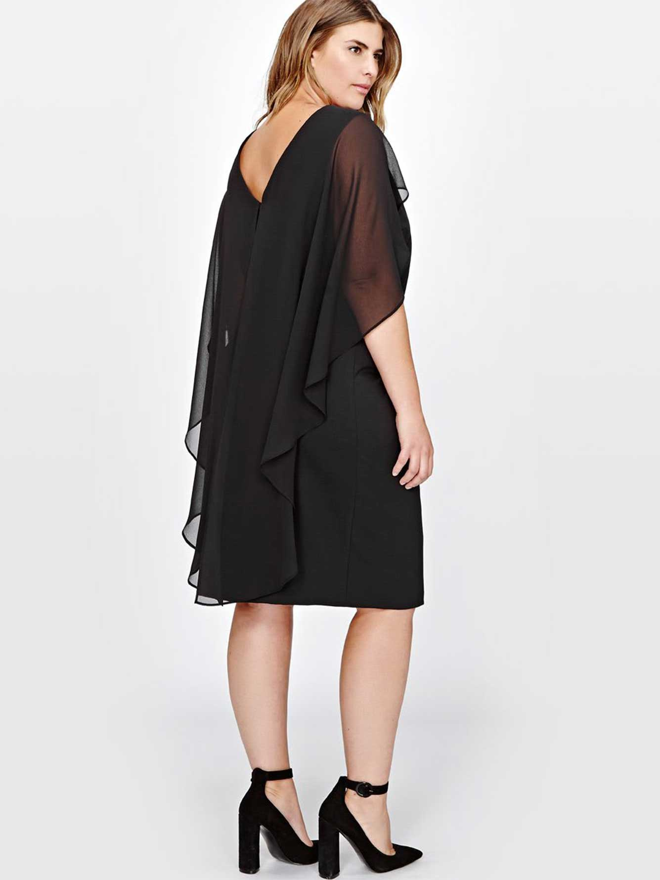 Sangria Chiffon Capelet Shift Dress