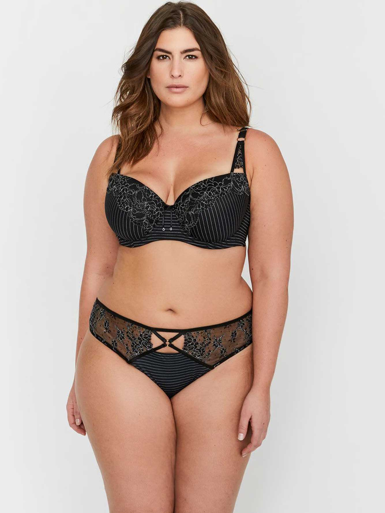 aaa3029c3 Ashley Graham Essentials Lace and Striped Showstopper Bra | Addition ...