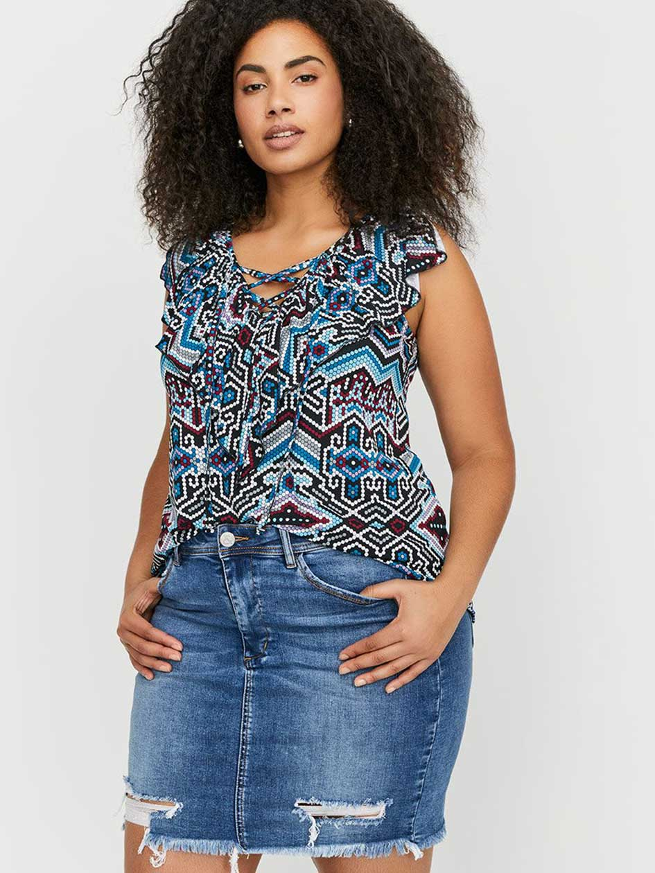 L&L Frilled Lace-Up Printed Tank Top