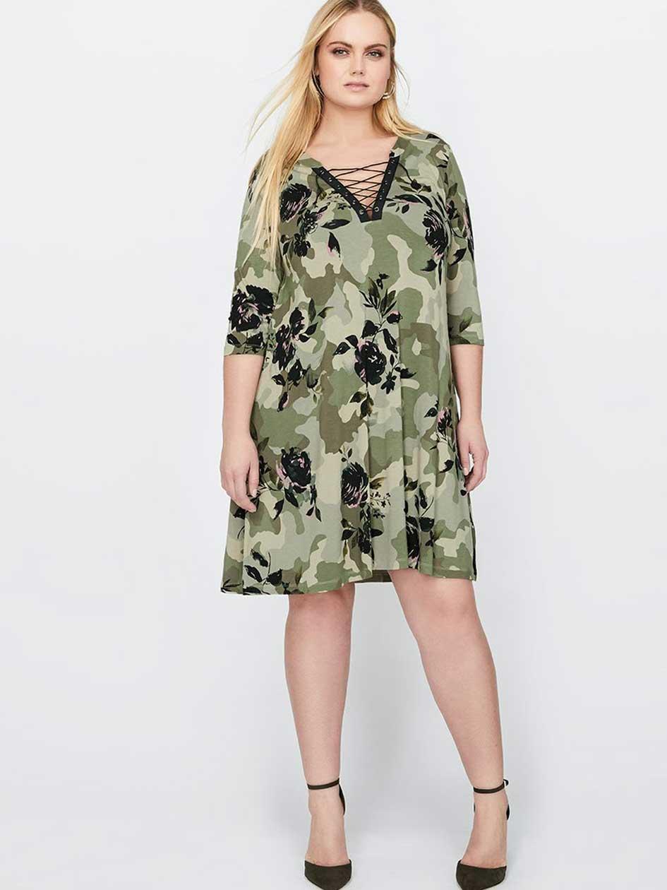 L&L Lace-Up Camo Print Dress