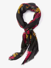 Lightweight Floral Scarf with Fringe