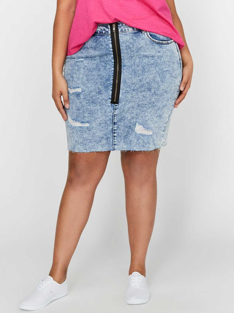 L&L Heavy Distressed Denim Skirt with Exposed Zipper