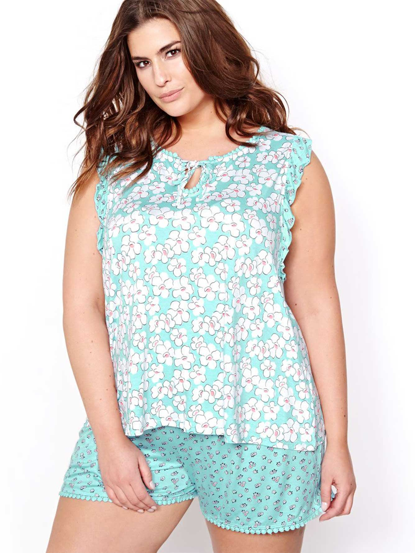 8cb1f706b7e352 Printed Pajama Top with Ruffles - Déesse Collection | Addition Elle