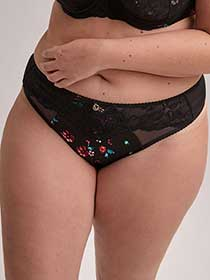 Printed Thong Panty with Microfiber and Lace - Ashley Graham