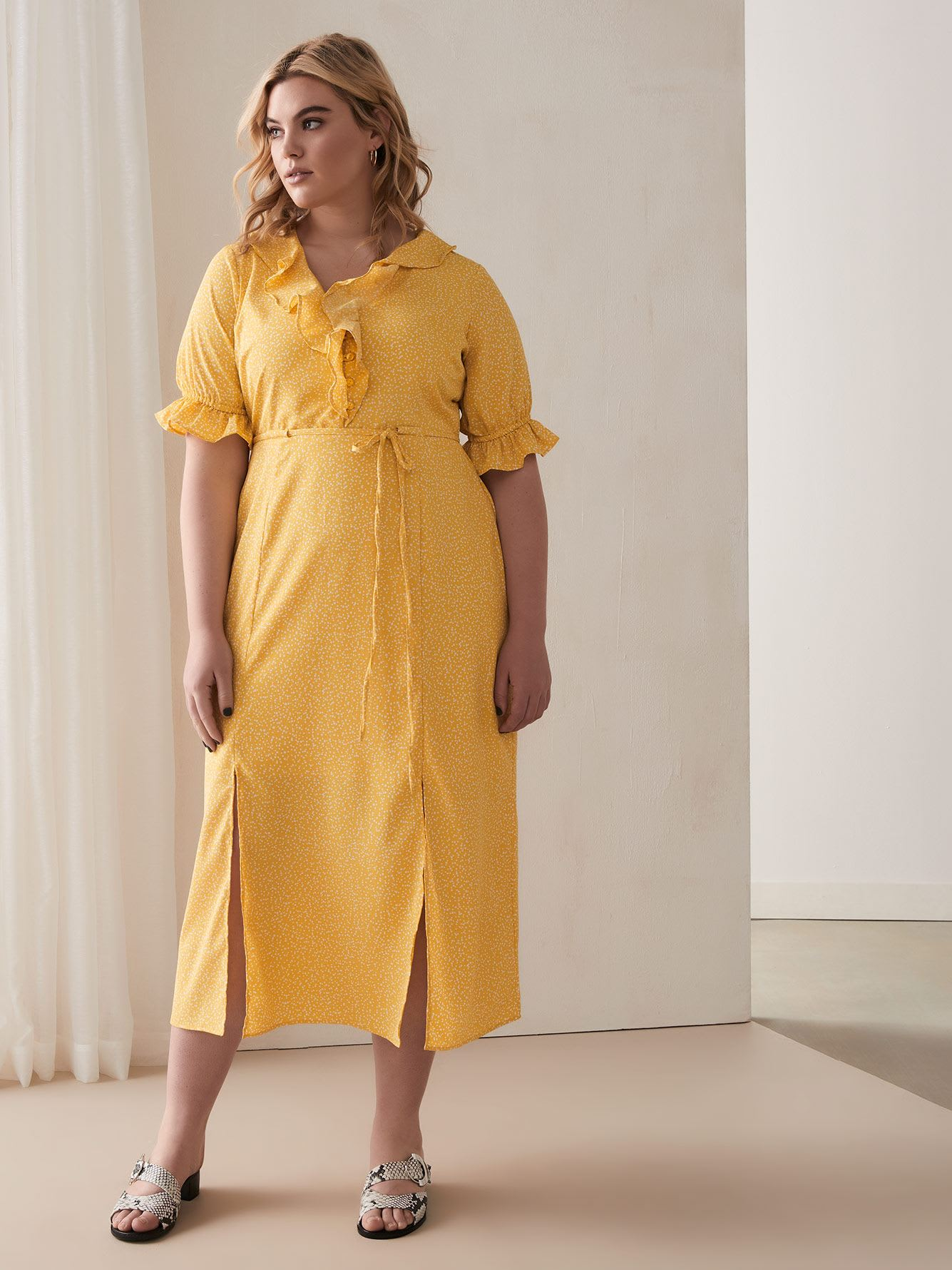 Polka Dot Yellow Frilled Dress - Lost Ink