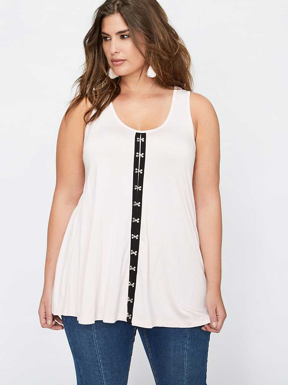 L&L Sleeveless Top with Hook and Eye Detail