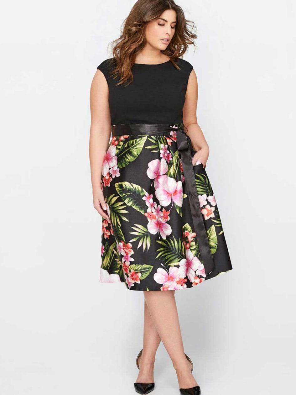 Sangria Cap Sleeve Printed Fit & Flare Dress