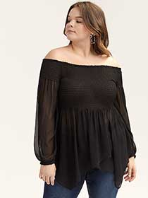 Smocked Off-the-Shoulder Baby Doll Top - L&L