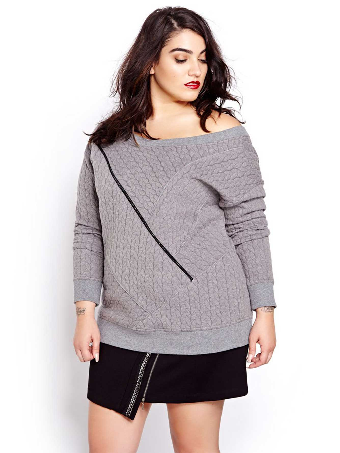 c3ee0f22b0e Nadia Aboulhosn Cable Knit Sweat Shirt for L L