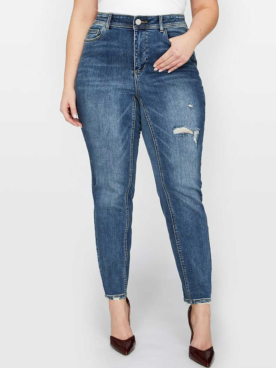 L&L Slightly Frayed Authentic Skinny Ankle Jean, Curvy Fit