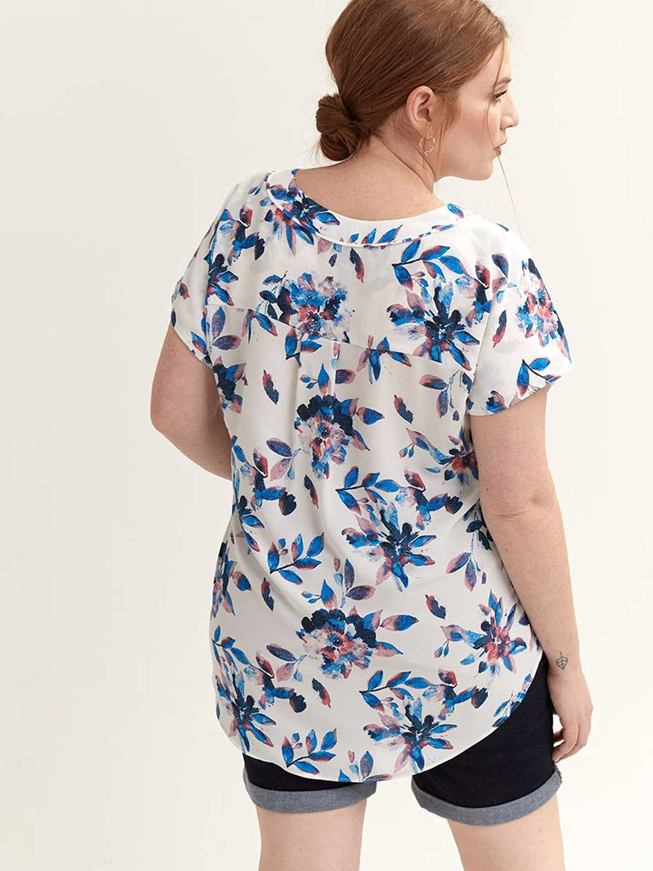 Flowy Printed V-Neck Blouse - Michel Studio