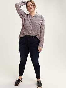Striped Shirt with Concealed Buttoned Down Closure - Michel Studio