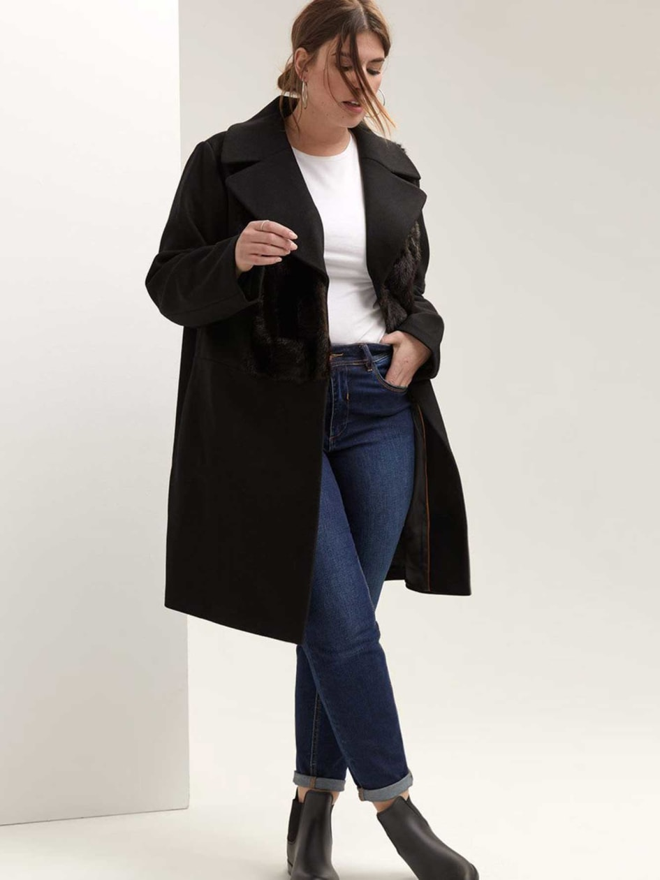 Coat with Faux Fur Applique - RACHEL by Rachel Roy