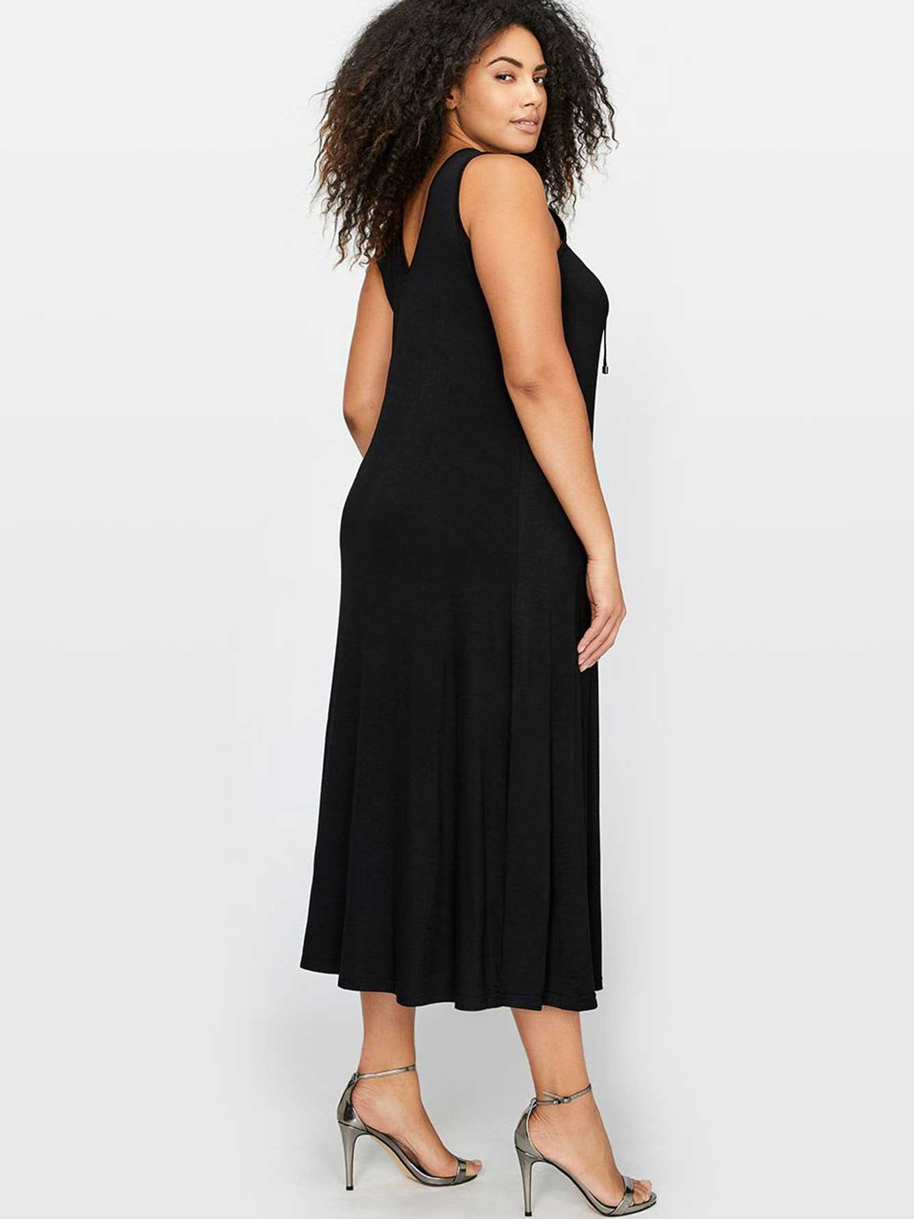 Michel Studio Sleeveless Maxi Dress with Lace Up Detail