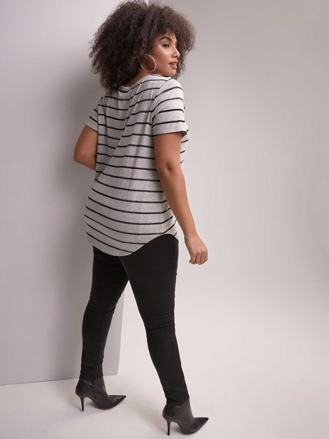 Modern Fit Scoop-Neck Striped Top - Michel Studio