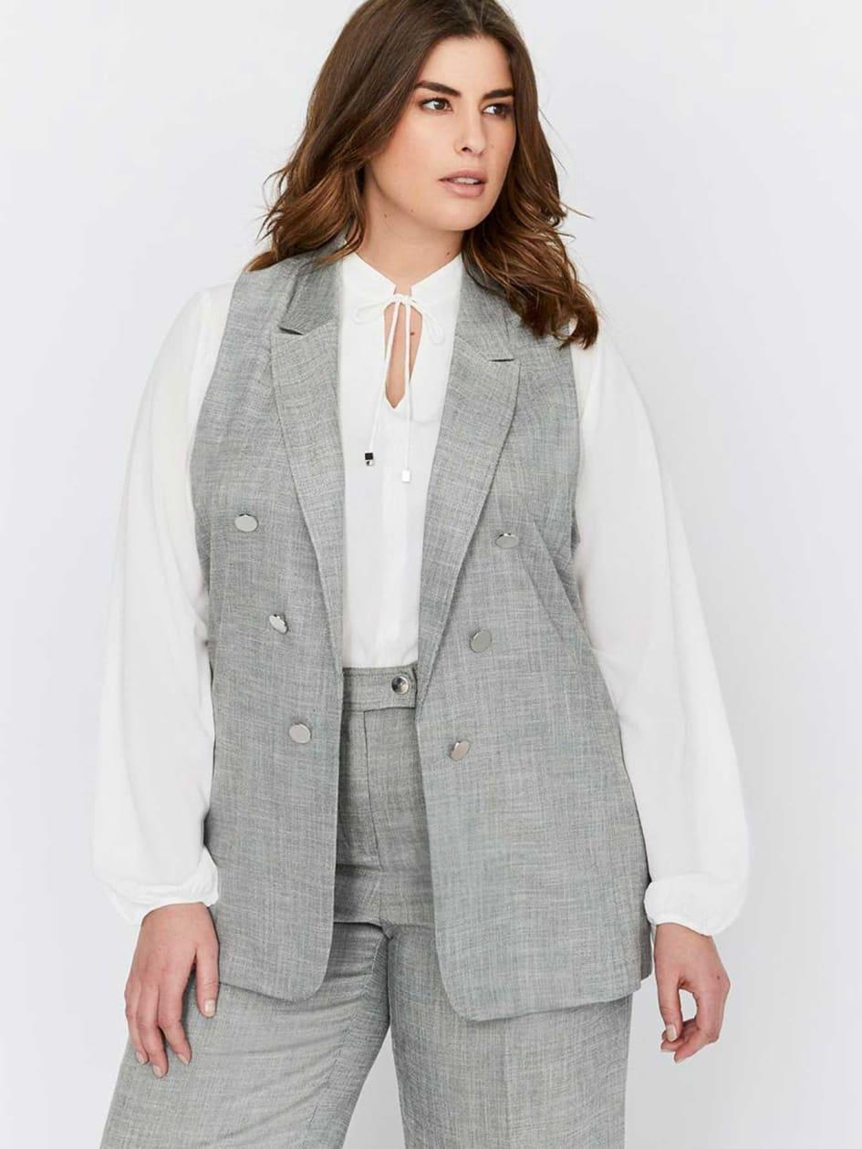 Michel Studio Faux Double Breasted Peak Lapel Collar Vest