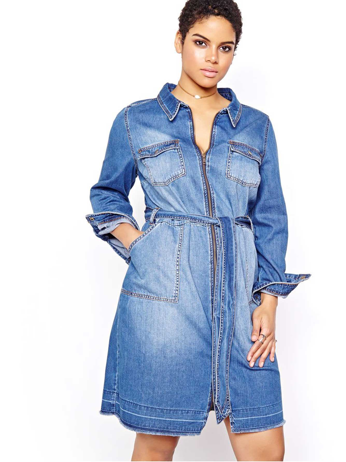 L&L Denim Shirt Dress | Addition Elle