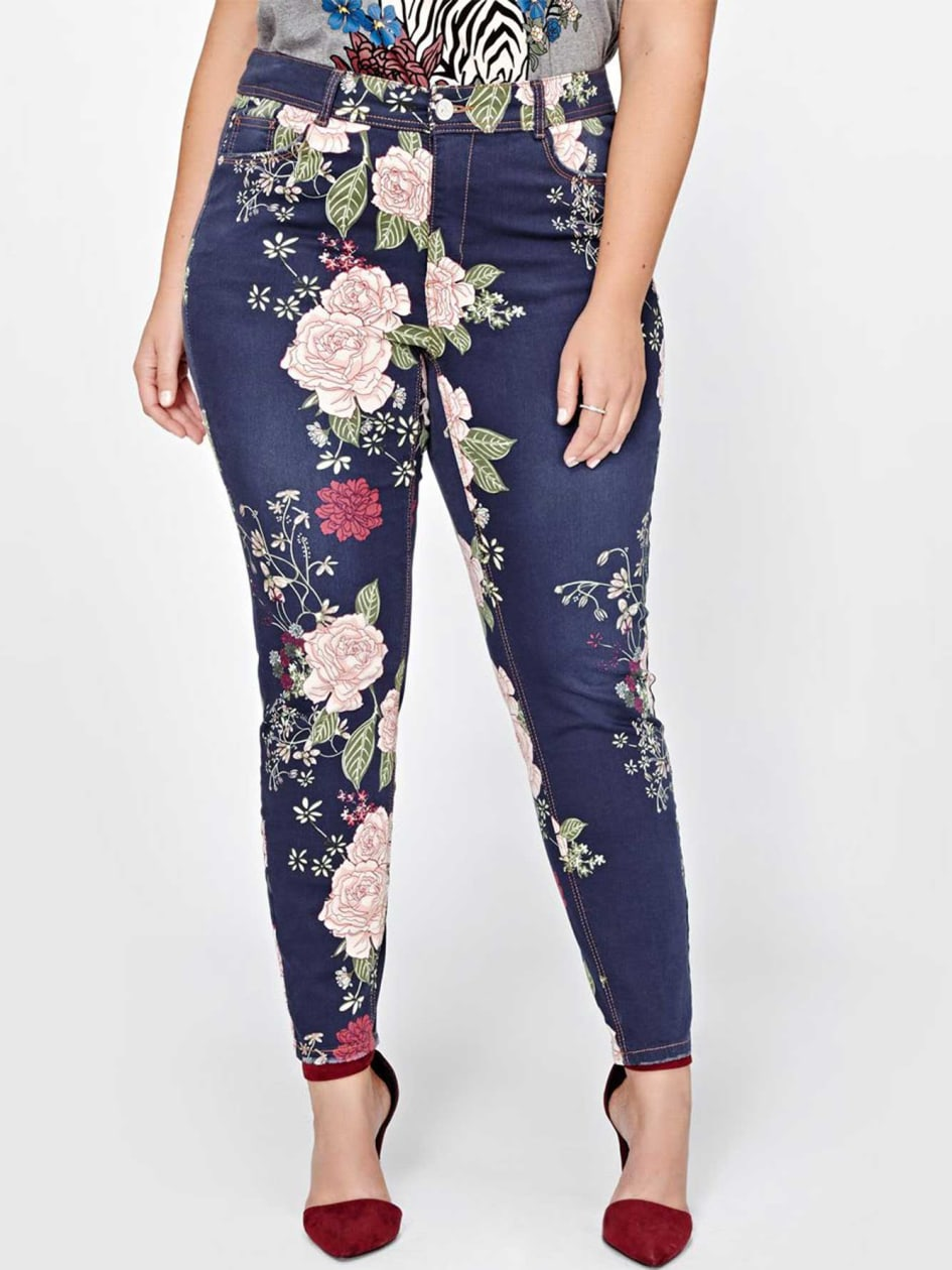 L&L Authentic Skinny Jeans with Oriental Floral Print
