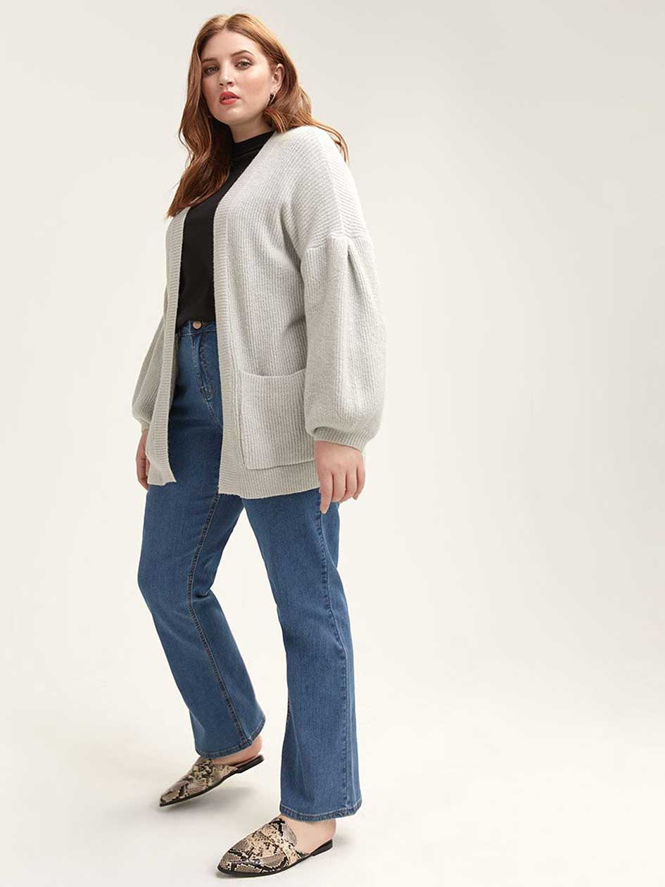 673201b8039 Grey Cardigan with Tuck Sleeve - Lost Ink