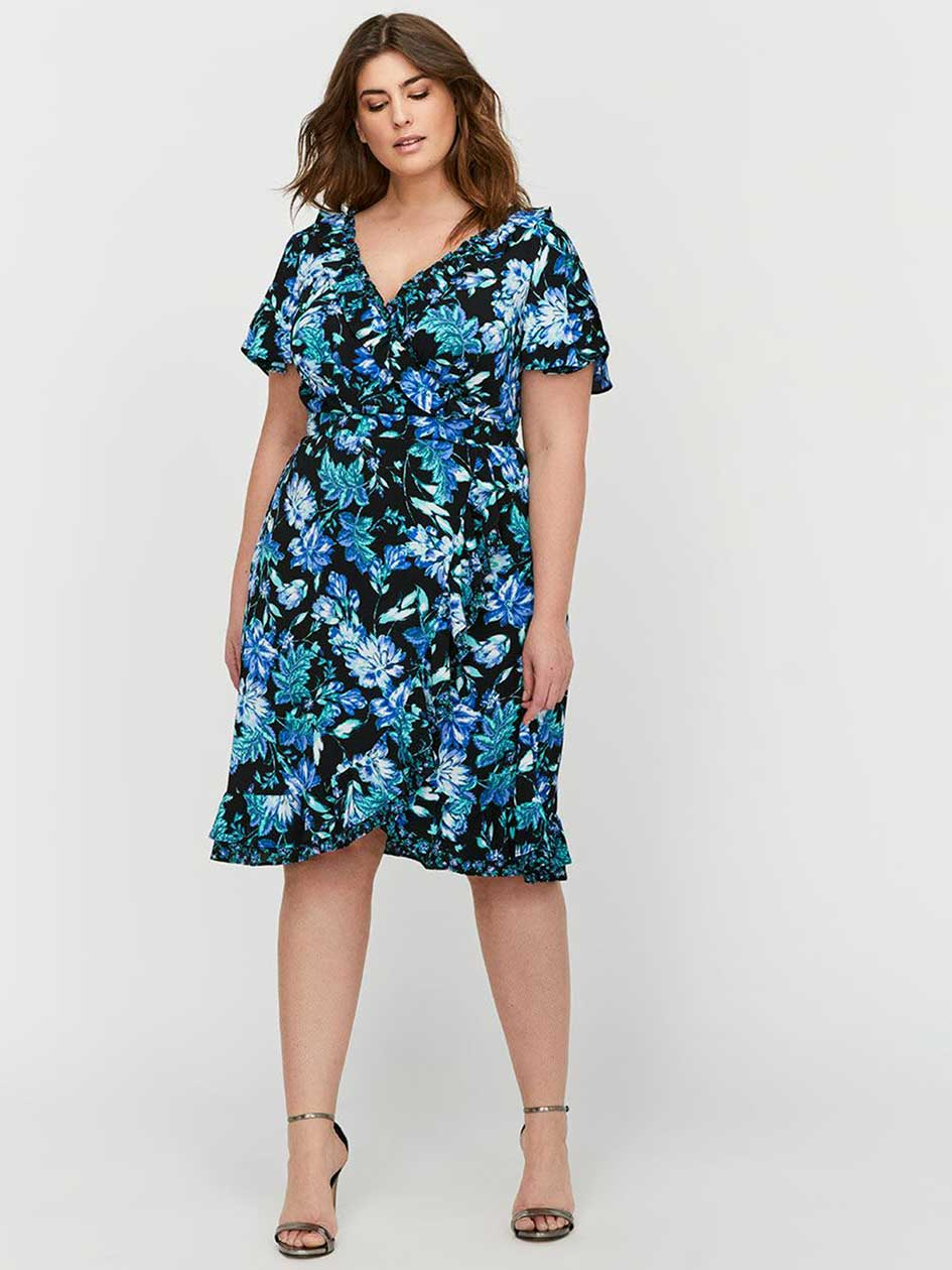 Sangria Printed Wrap Dress with Flutter Sleeves