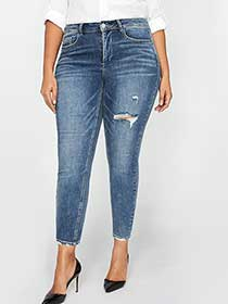 L&L Slightly Frayed Authentic Skinny Ankle Jean