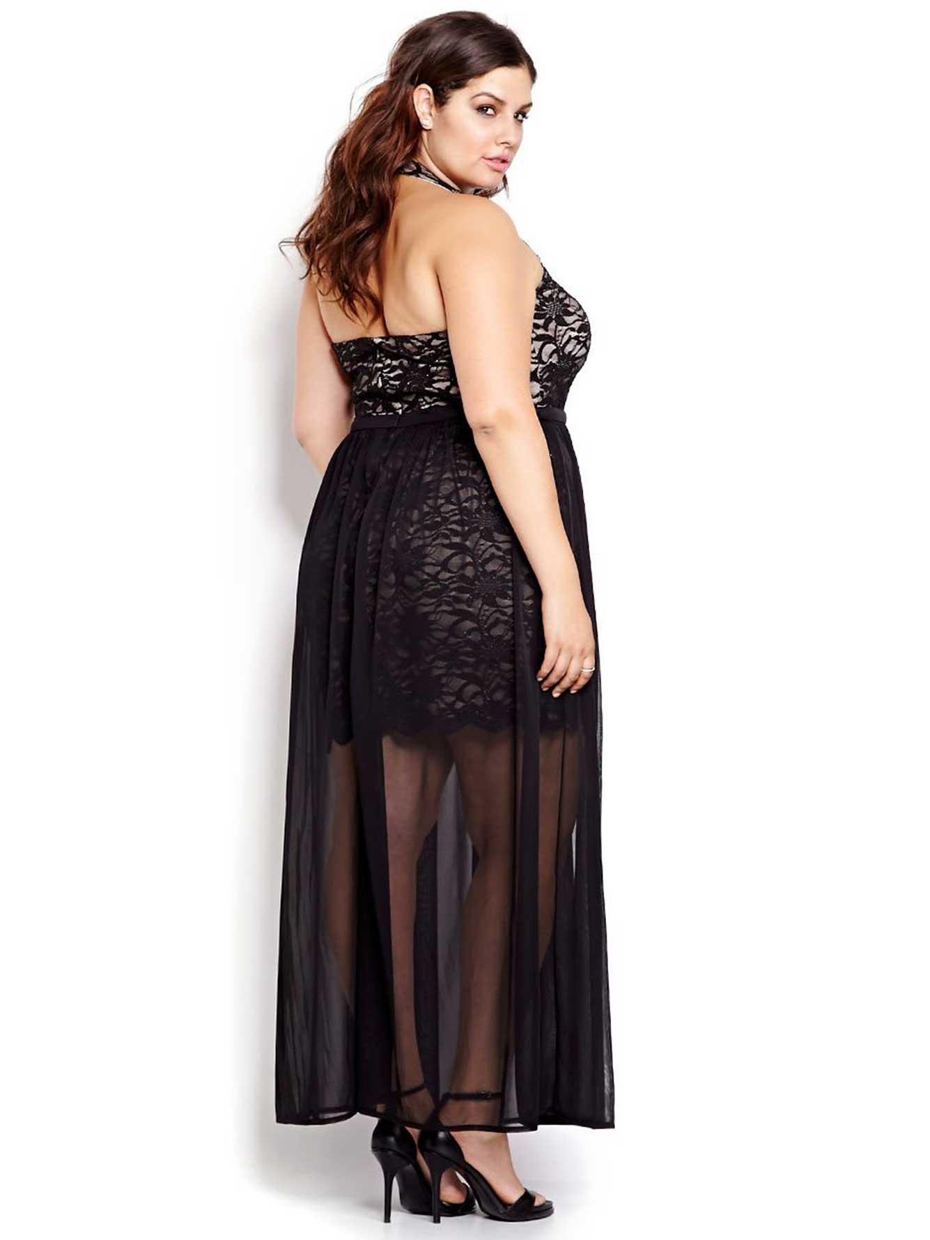 6b4c835e882d2 New Noir Lace and Chiffon Halter Dress | Addition Elle
