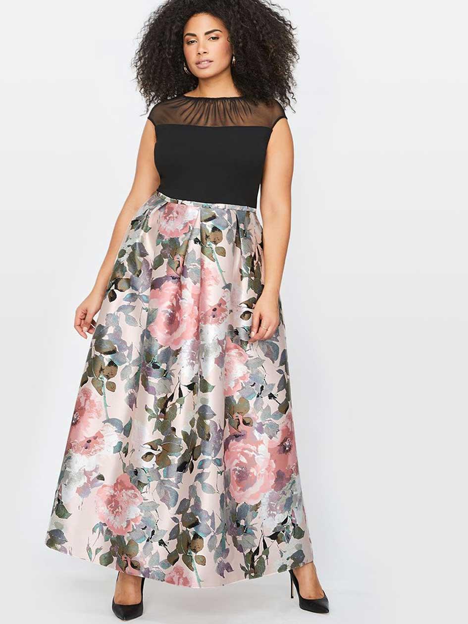 Sangria Cap Sleeve Printed Maxi Dress