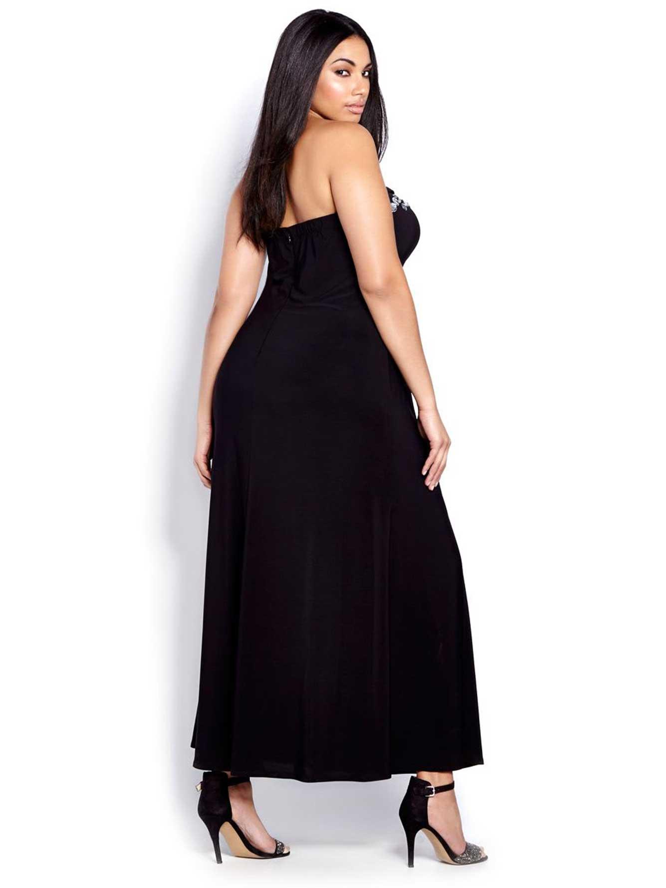 New Noir Strapless Bustier Evening Dress | Addition Elle