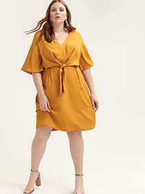 Knot Front Dress - City Chic