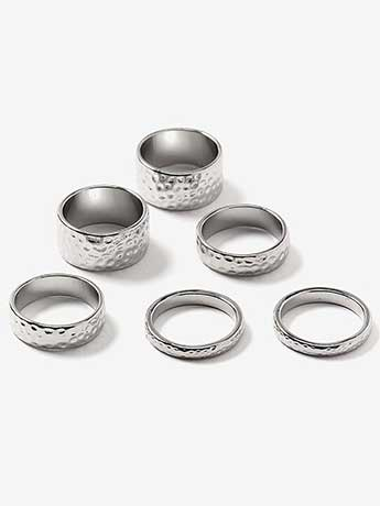 Set of 6 Hammered Rings