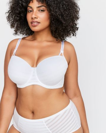 White Basic Shadow Stripe Balconette Bra