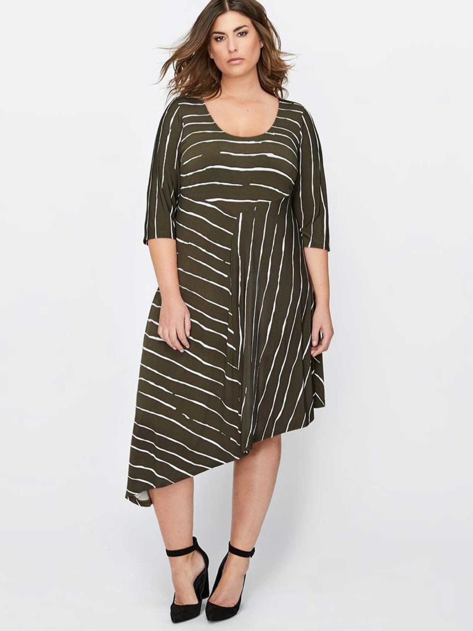 Michel Studio Asymmetrical Printed Dress