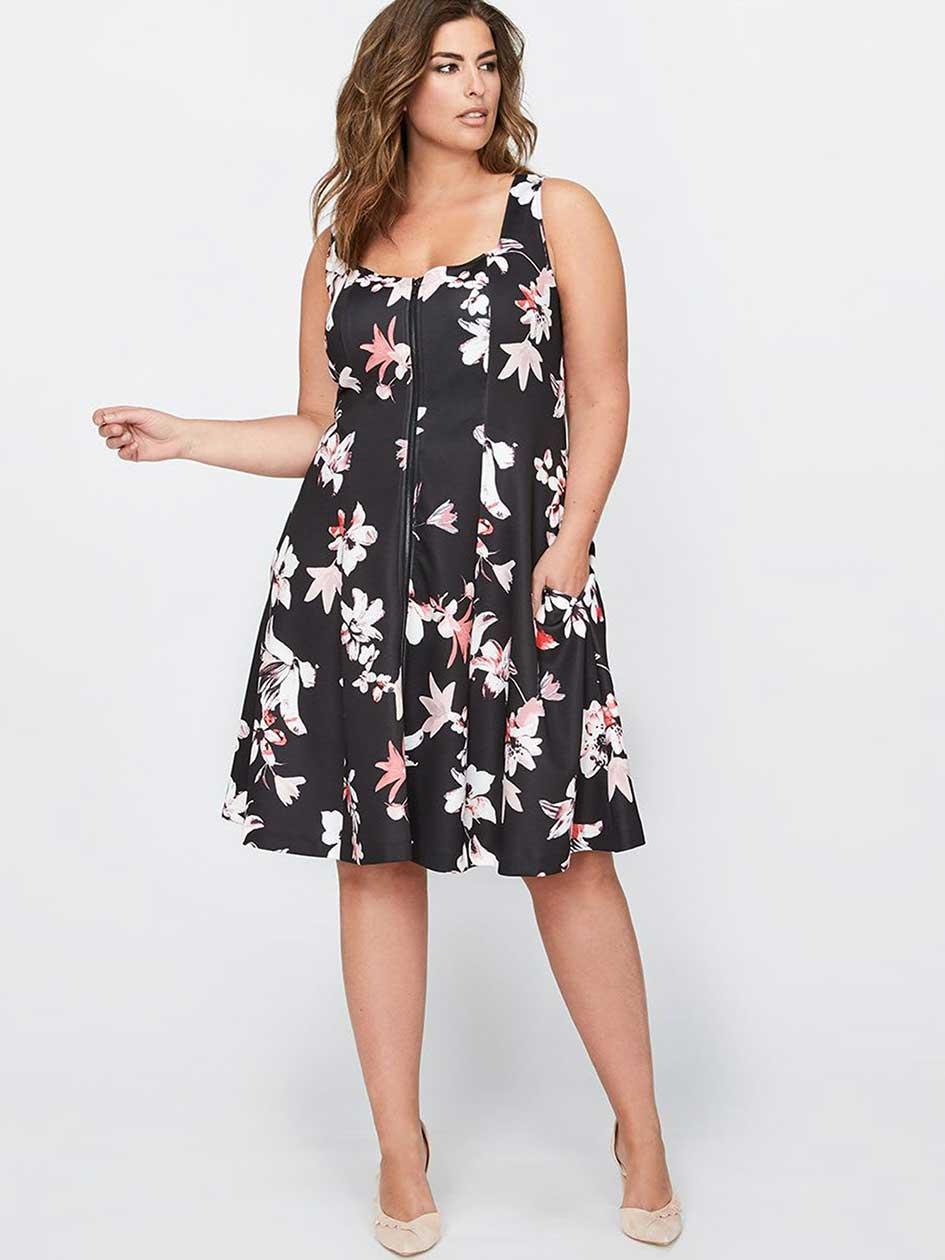 Michel Studio Sleeveless Printed Dress with Zip