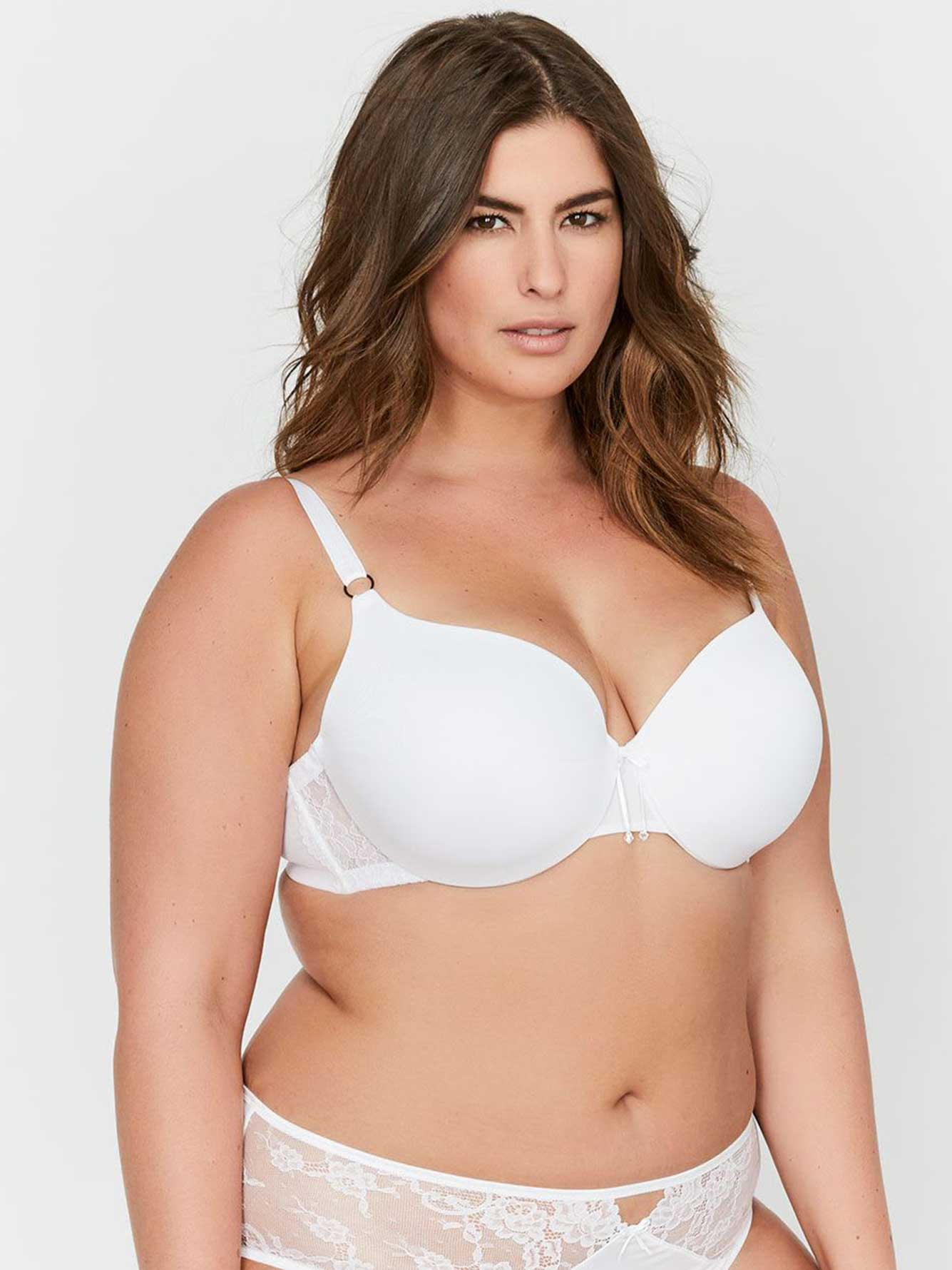 83a380ab15 Ashley Graham Essentials Icon T-shirt Bra with Lace   Thin Micro Fiber