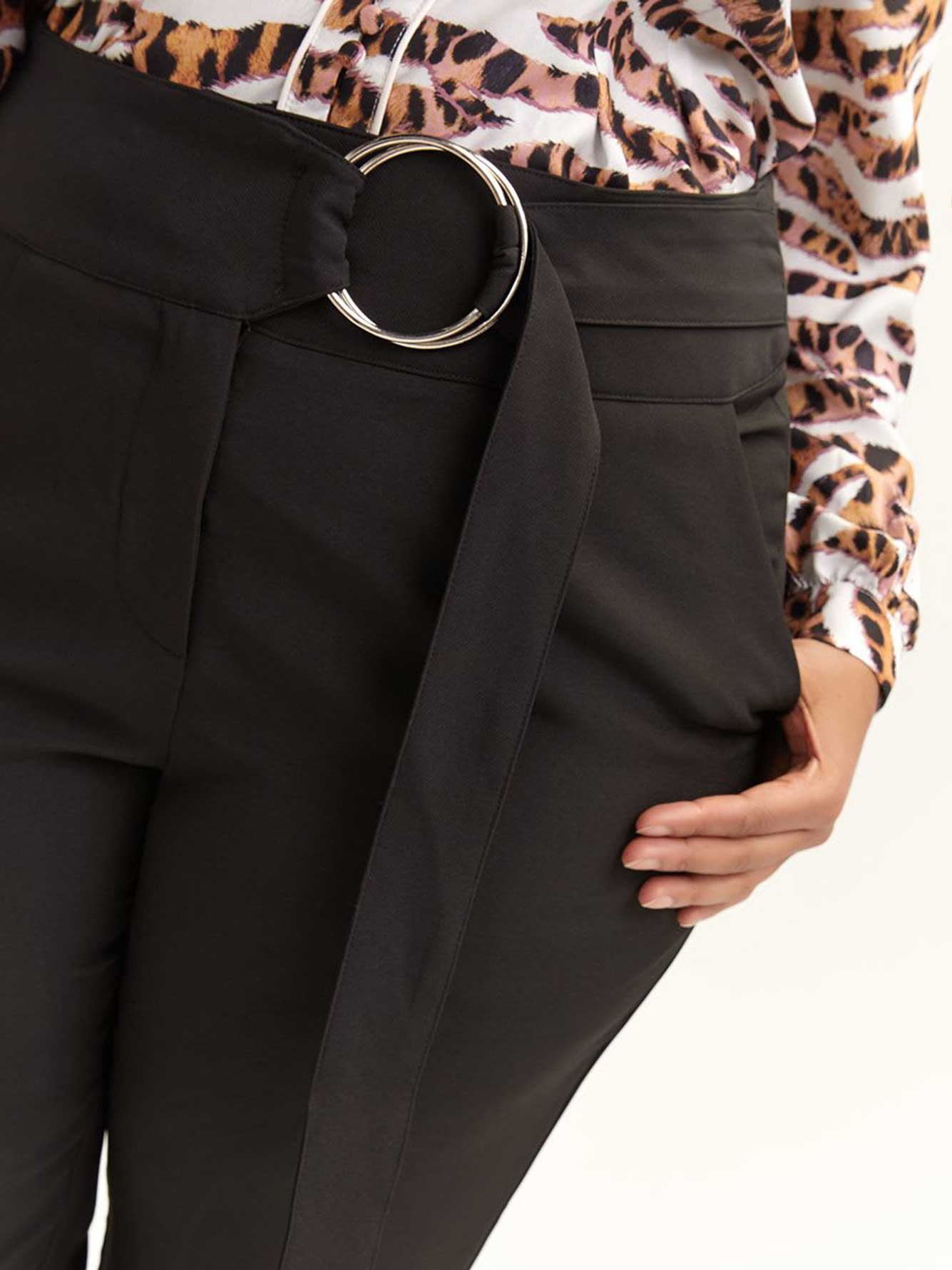 Peg Trouser with Ring Belt - Lost Ink