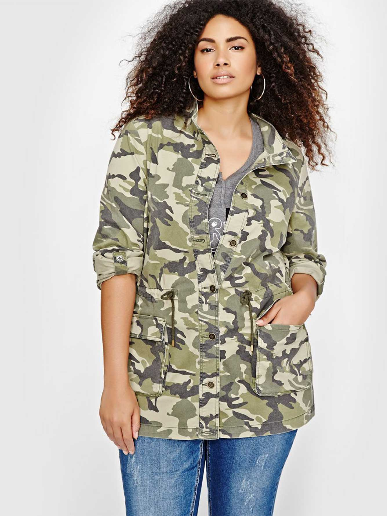 e895304475263 L&L Military Print Jacket | Addition Elle