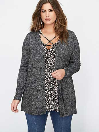 High-Low Cardigan with Laced Up Back - L&L