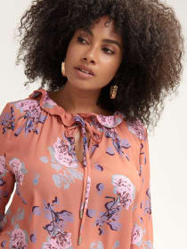 Floral Blouse with Ruffle Neck - Lost Ink