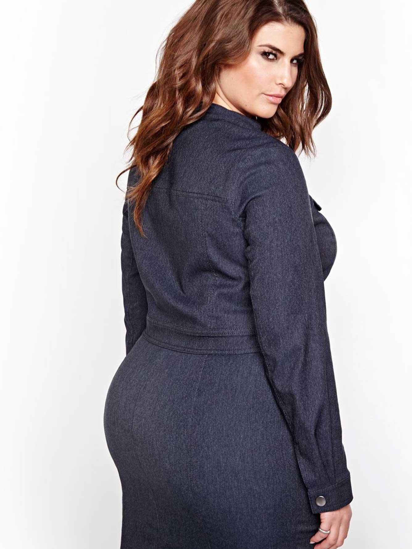 Michel Studio Cropped Long Sleeve Denim Jacket Addition Elle