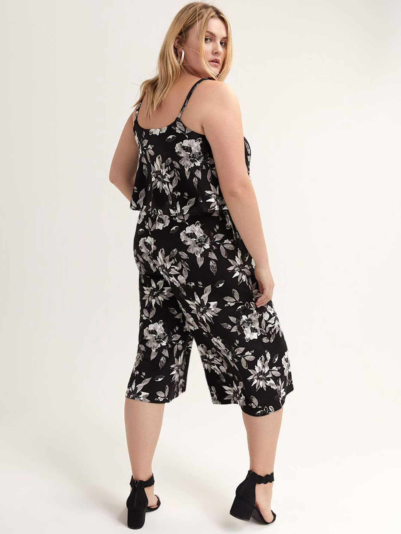 Wide Cropped Leg Ruffle Jumpsuit - Michel Studio.