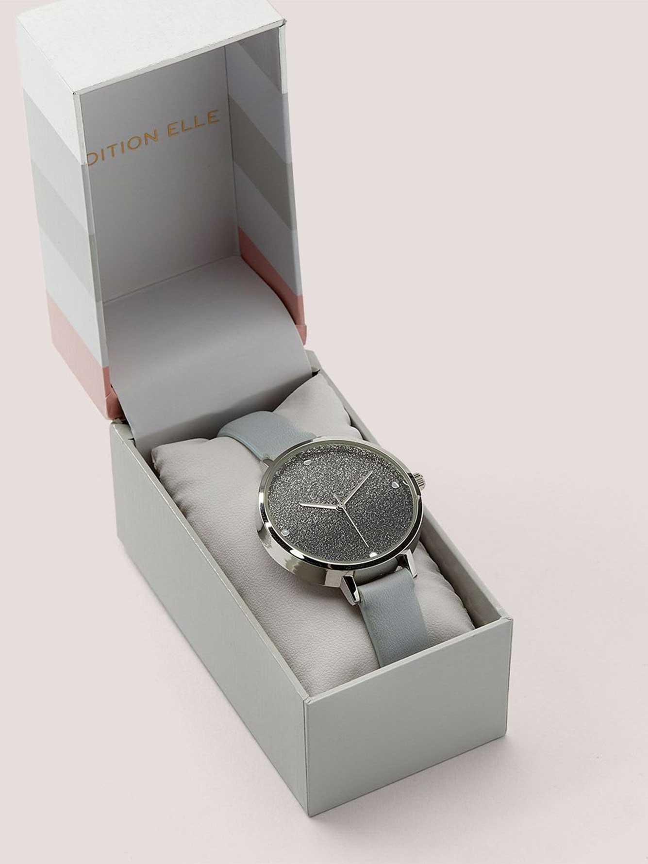 Grey Watch with Glitzy Dial with Gift Box