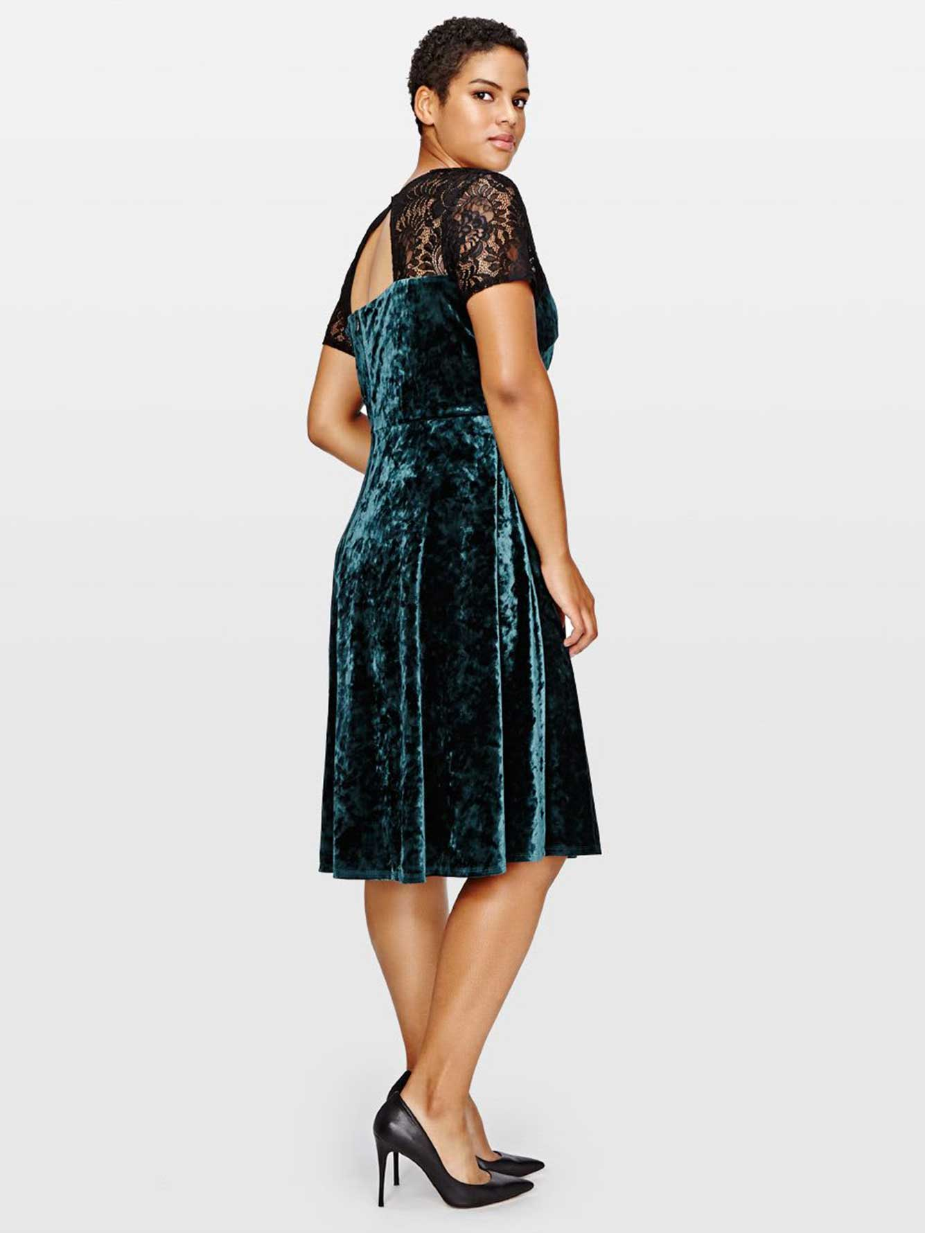 Sangria Crushed Velvet Dress with Lace